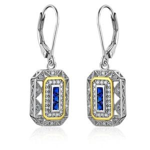 🌹✅925 Sterling Vintage Princess Sapphire Earrings